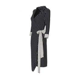 business casual dress for ladies UK - Women Dresses Autumn Winter Sexy Dress In Elegant Black V Neck Belt Stripe Work Business Casual Party Pencil Dress for Lady