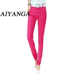 Wholesale ladies office pants fashion - Trousers for women 2017 Spring-Autumn Office Lady Pants female Fashion Pencil Pant Ladies Casual Candy color women's Trousers