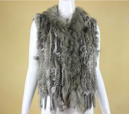 collari per cani per le donne Sconti 5 colori di alta qualità vendita calda al dettaglio / all'ingrosso collo di pelliccia di cane di procione Trim donne maglia naturale pelliccia di coniglio gilet / gilet