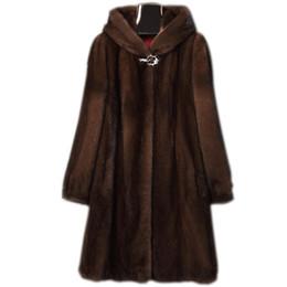 imitazioni di pellicce di pelliccia di faux Sconti Abbigliamento Donna S-6XL nuovo modo di alta imitazione pelliccia di visone cappotto Femminile lungo cappotto incappucciato Faux Fur Coat