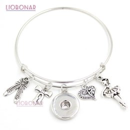 Wholesale Wholesale Ballerina Charms - Newest Fashion Interchangeable Jewelry Style Dance Ballet Shoes Ballerina Charms Expandable Wire Snap Bangles Bracelets for women Jewelry