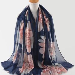 Canada 1 pc bleu marine Shinny paillettes Sier Imprimer Fleurs coloré écharpe hijab Visecose wrap musulman Hijabs écharpes / foulards supplier hijabs flowers Offre