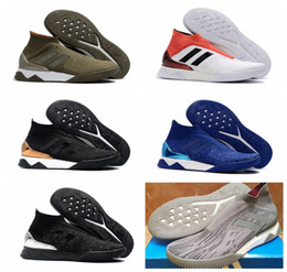 Wholesale Winter Leather Boots For Men - 2018 original soccer cleats Predator Tango 18+ TR boots cheap ankle high soccer shoes for men authentic football boots mens new