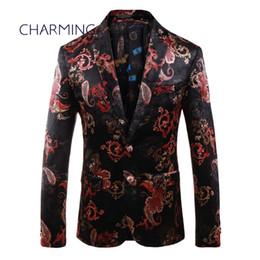 Tan stoff online-Herren Tan Anzug, Luxus Gericht Stil Druckgewebe, Gentleman Anzug Jacke, für Sänger Leistung, Mode Party Ball Hochzeit Anzug,