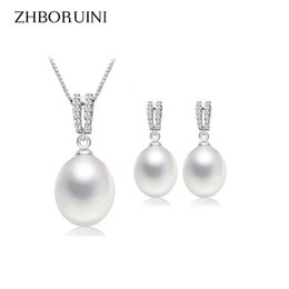 Wholesale Freshwater Pearl Drop Earrings - ZHBORUINI 2017 Pearl Jewelry Set Natural Freshwater Pearl Necklace Drop Earrings Zircon 925 Sterling Silver Jewelry For Women