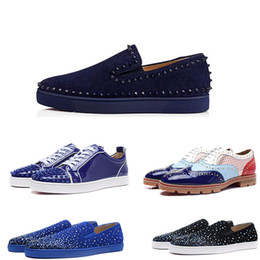 Wholesale Handmade Canvas Shoes - (with box) Handmade Spikes Rivet Red Bottom Men Loafers Luxury Fashion Round Toes Dress Shoes Men's Wedding and Party Slip on Flats shoes