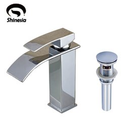 Wholesale Finished Bathrooms - Chrome Finish Solid Brass Bathroom Waterfall Basin Faucet Single Handle Mixer Tap with Sink Drain