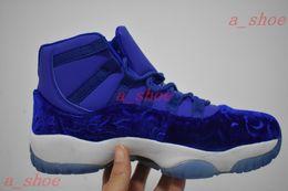 Wholesale Velvet Round Box - Air Retro 11 Velvet Heiress Blue Mens Basketball Shoes Air Retro 11s Sneakers Come With Box