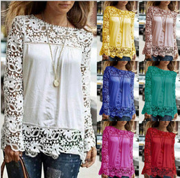 Wholesale crocheted shirts - New Fashion Women Multicolor Crochet Lace Shirt Female Floral Lace Long Sleeve Chiffon Blouse Lace