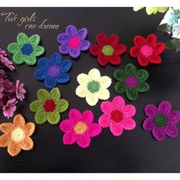 Wholesale Crochet Flower Decoration - Decoration Coasters Handmade Crochet Cup Pad Multicolor Flower Wool Doilies Round Table Mat 10cm For Wedding Gift 30pcs lot