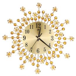 Deutschland Schöne große Wanduhr Blumen Kunst Metall Modern Luxury Diamond Indoor Home Wohnzimmer Sep29 cheap beautiful clocks Versorgung
