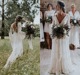 Wholesale White Crochet Dress Long - Gwendolyn country wedding Dresses 2018 V-Neck crochet Lace Vintage Summer Bridal Wedding Dress France charming Hot Gelinlik Vestido De noiva