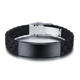2019 braccialetto in oro smeraldo Personalizza Black ID Bracciali per uomo in acciaio inossidabile Silicone Bangle Casual maschile regolabile gioielli