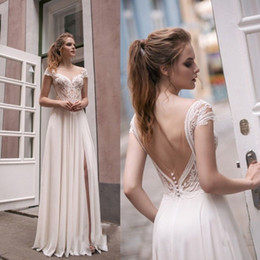 Wholesale cheap empire line tops - Modest Designer Scoop Top Illusion Lace Cheap Wedding Dresses Floor Length Chiffon Front Slit Summer Beach Berta Bridal Gown Backless Sleeve