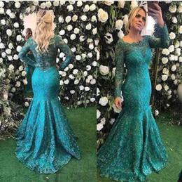 Wholesale Teal Trumpet Dress - Long Sleeve Lace Mermaid Evening Dresses 2018 Teal Burgundy Beaded Full length Fishtail Prom Party Gowns Cheap vestidos