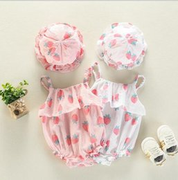 Wholesale infants suspenders - Ins NEW summer infant girl romper sleeveless Stawberry print suspender Romper +hat 100% cotton baby Climb summer fashion romper