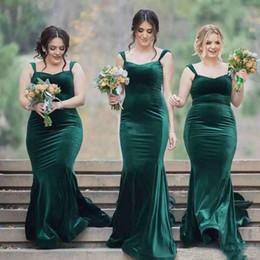 Wholesale Purple Velvet Bridesmaid Dresses - Hunter Green Mermaid Bridesmaid Dresses 2018 Velvet Spaghetti Back Zipper Floor-Length Custom Made Formal Gowns For Wedding Simple