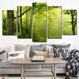pictures forests 2018 - 5 Panel HD Printed Wall Art Canvas Painting Abstract Green Natural Fresh Forest Poster and Prints Modular Pictures