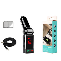 Wholesale Transmitter Bluetooth Mp4 - BC06 bluetooth car charger BT car charger MP3 BC06 mp3 MP4 player mini dual port AUX FM transmitter KKA1328