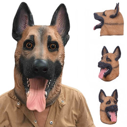 Wholesale latex dressing - Hot Sale Dog Head Latex Mask Breathable Novelty Full Face Head Mask Halloween Masquerade Mask Fancy Dress Festival Party Masks