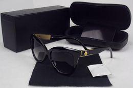 Decoração do desenhador on-line-Luxo óculos de sol cat eye shape moda estilo verão vintage mulheres marca designer de metal rose flower decor óculos ao ar livre com caixa de caixa
