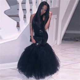 Wholesale Cheap Sequin Little Girl Dresses - 2018 Elegant Black Girl Mermaid African Prom Dresses Evening wear Plus Size Long Sequined Sexy Backless Gowns Cheap Party Homecoming Dress