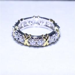 jóias cheias de ouro chinês Desconto Marca de Jóias de Ouro Branco Filled Anel de Banda de Noivado de Casamento Simulado Diamante Zirconia CZ Prong Anéis para As Mulheres Homens Presente Original Size5-12