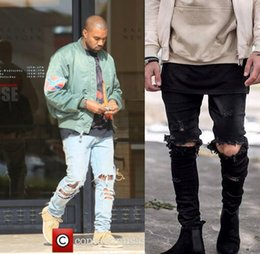 Wholesale camouflage pants for men skinny - Kanye West Skinny Ripped Jeans For Men Male Black Motorcycle Camouflage Jeans Denim Pants Fashion Brand Swag Hole Biker Jeans