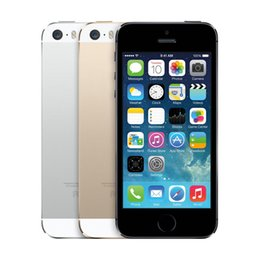 Wholesale iphone 5s phone original - Factory Unlocked Original Apple iPhone 5s Fingerprint IOS 4.0 Inch Screen Mobile Phone Touch ID iCloud App Store Refurbished Cell Phones