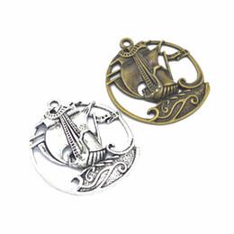 Vela barco diy on-line-50 pçs / lote barco à vela encantos barco pingentes de prata antigo bronze 43 * 39mm bom para DIY artesanato, fazendo jóias