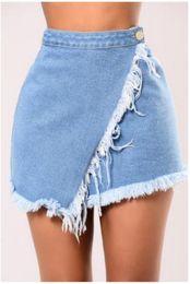 2019 женская юбка tassels Ladies Vintage Ripped Womens Mini Skirt Tassels High Waisted Stonewash Denim Skirts Women Hot Bottoms дешево женская юбка tassels