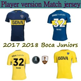 Wholesale Quick Match - Player version 2017 2018 Boca Juniors Jersey Home Away 17 18 GAGO TEVEZ CARLITOS Benedetto Cardona Match football shirts Size S-3XL