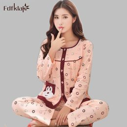Wholesale Womens Cotton Pajamas Sets - Spring Autumn Womens Cotton Satin Pajamas Set Pajama Pyjamas Set Sleepwear Loungewear Ladies Pijamas Plus Size M-3XL E0709