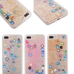Cas rapide de téléphone liquide pour iPhoneXS MAX XR X 7 8 Plus icône APP PC dur + doux TPU Glitter Case Cover pour iPhone 6 6s 7 8 plus ? partir de fabricateur