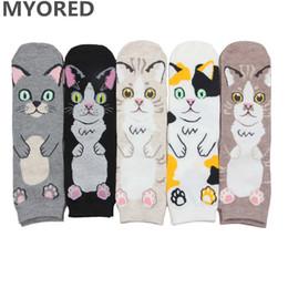 Wholesale Dress Socks Girls - MYORED 5pairs women socks cute funny cat style fashion autumn winter funny socks short ankle sock for girls woman casual dress