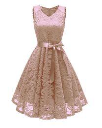 Nuevos vestidos atractivos del peplum online-Nueva primavera y verano bestseller Temperamento delgado sexy vestido de noche mujer, vestido de encaje sin mangas con cuello en V hueco.