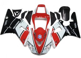 Wholesale 98 r1 fairings white black - 4 Free Gifts New motor fairings set fit for YAMAHA 1998 1999 YZF-R1 98 99 YZFR1 98 99 YZF R1 YZFR1000 ABS fairing black white red