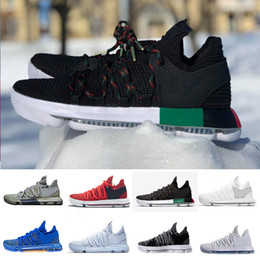 Wholesale Kd Red Shoes - Zoom KD 10 Anniversary PE BHM Red Oreo triple black Men Basketball Shoes KD 10 Elite Low Kevin Durant Athletic Sport Sneakers 40-46