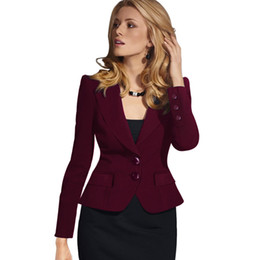 suit work wear for women Promo Codes - R&H lady office work business suit wear women short black white slim women Jackets Full sleeve Fashion winter coat for wholesale