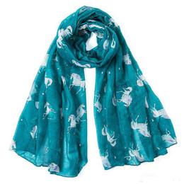 Unicorn bufanda nueva moda europea y americana encaje pony impresión larga bufanda chal protector solar para mujeres niñas desde fabricantes