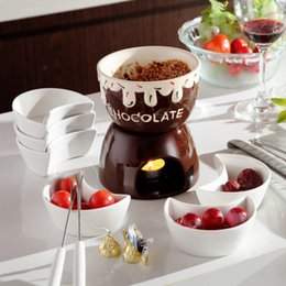 Wholesale Ceramic Cook Set - Coffee ice cream pot chocolate fondue set cheese hot pot ceramic ice cream furnace with fork and candle cooking ware