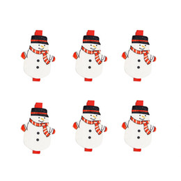 Wholesale Small Wood Clip - 6pcs lot Christmas Ornament Clips For Party Decor Props Xmas Snowman tree Elk Santa Claus Wood Small Office & Photo Clips