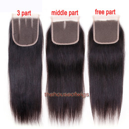 Wholesale Medium Brown Lace Closure - 100% Human Hair Straight Closure Brazilian Hair Lace Closure 4x4 Closure Natural Color With Bleached Knots
