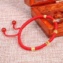 bracelet jaune solide Promotion Bracelet en or jaune massif 24K 5pcs 0.05g Perles Cordon Bracelet Chanceux