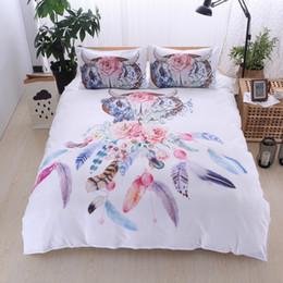 Dreamcatcher Federn Luxus Aquarell Bettwäsche Set böhmischen gedruckt Federbett Bettwäsche Set Königin King Size Bettbezug Set von Fabrikanten