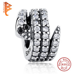 7122ceaf5 BELAWANG Authentic 925 Sterling Silver Bead Micro-pave White Cubic Zirconia  Snake Animal Beads Fit Pandora Charm Original Bracelet Jewelry