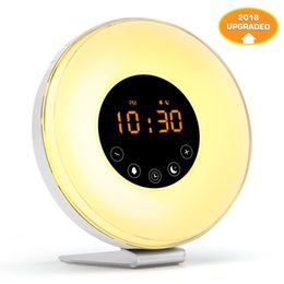 Wholesale Color Change Digital Table Clock - Novelty Wake Up Light Alarm Clock Digital Alarm Clock Touch Display Table Lamp Light with Sunrise Simulation FM Radio Colorful Light