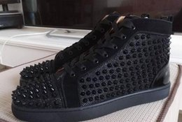 Wholesale high sole sneakers - Fashion black spikes Hi Top Sneakers Red Bottom Shoes Women,Men Trainers black canvas high quality Lace-up Spikes Red Sole Luxury Part