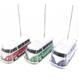 Wholesale Car Shape Bluetooth Speaker - New Portable bus shape Bluetooth speaker LED Light USB Mini Car Player Wireless Bluetooth Speakers LX2429