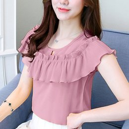 Wholesale white ruffled blouses for women - Womens Tops and Blouses Shor Sleeve Casual Chiffon Blouse Female O-Neck Work Wear Solid Color Office Shirts For Women Blusas